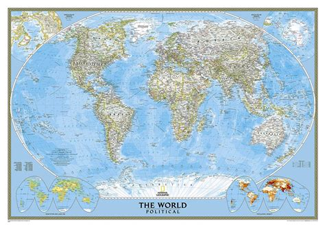 the way laminated national geographic reference map books themapstore national geographic world wall map blue