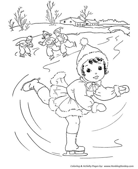 Winter Activities Coloring Pages winter activity coloring pages images