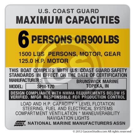 dusky boat stickers maximum capacities plate decal 4x4 type e mercurydecals