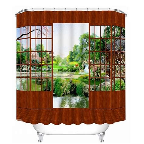 beautiful 3d print shower curtains classic wooden door and beautiful scenery outdoor print 3d
