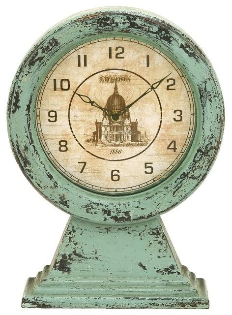 green themes clock old world wood table clock green london theme accent decor