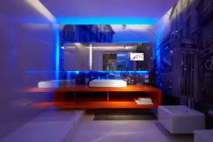 Home Interior Led Lights Interior Fantastic Blue Led Light Bulb In The Bathroom Paired With Rectangle Mirror Above The