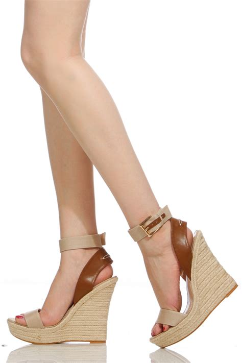 1 Inch Wedge Dress Shoes by Beige Faux Leather Ankle Espadrille Wedges Cicihot Wedges Shoes Store Wedge Shoes Wedge
