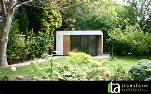 contemporary white rendered garden room