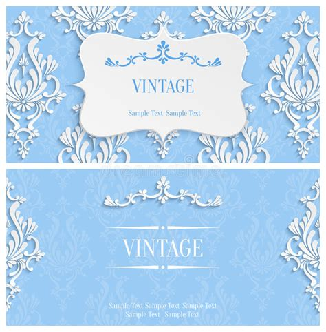 3d invitation card template vector blue 3d vintage invitation template with floral