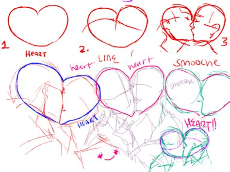 kiss tutorial drawing kissing reference by lunasaga on deviantart