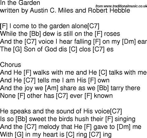 In The Garden Lyrics And Chords by Time Song Lyrics With Guitar Chords For In The Garden F