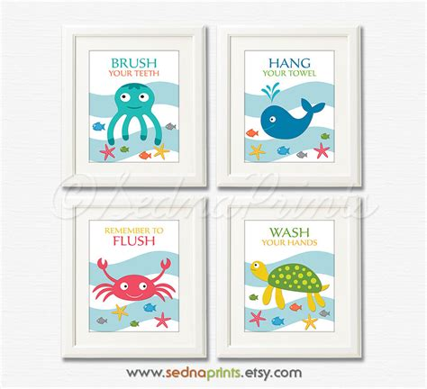 kids bathroom rules bathroom art print set 8x10 kids bathroom wall decor