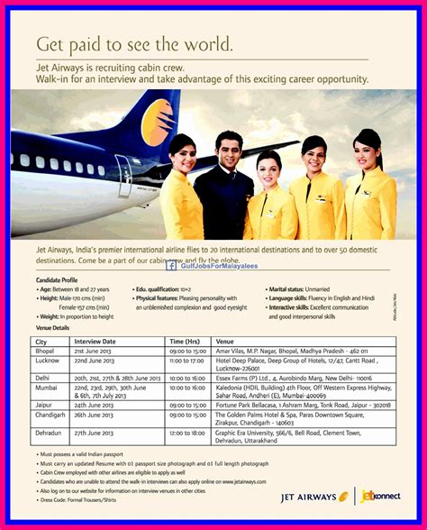 cabin crew opportunities jet airways is recruiting cabin crew gulf for