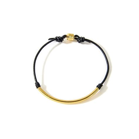 And Bracelet balance black leather bracelet gold dipped dogeared