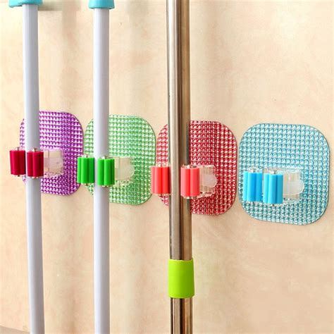 kitchen wall mounted mop rack bathroom storage mop broom