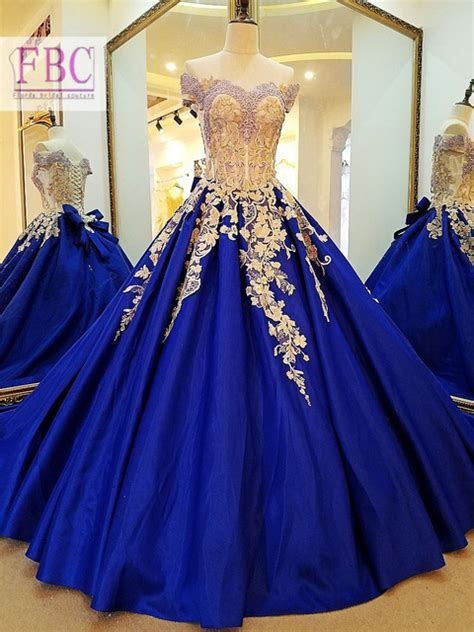 Baju Anak Branded Dress Yellow Fashion 2018 real picture royal blue prom dresses gold appliques
