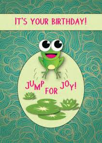 cute card  frog jumping  joy  happy birthday