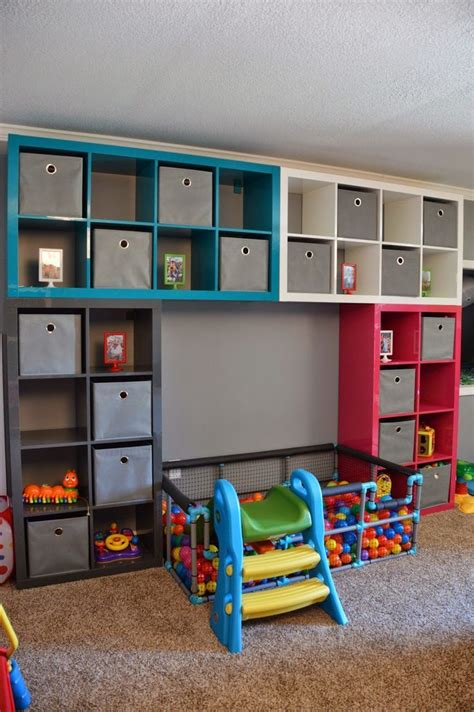 toy room storage ikea playroom diy ball pit also shows a neat idea for a