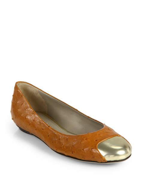 shoes flats calvin klein alba ostrich leather ballet flats in brown