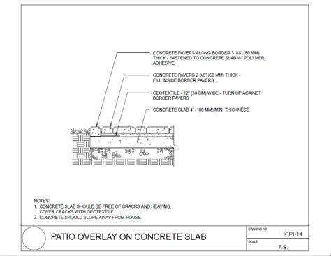paver patio concrete slab detail drawings lowcountry paver
