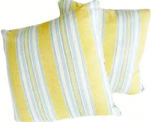 yellow white blue pillows striped decorative by