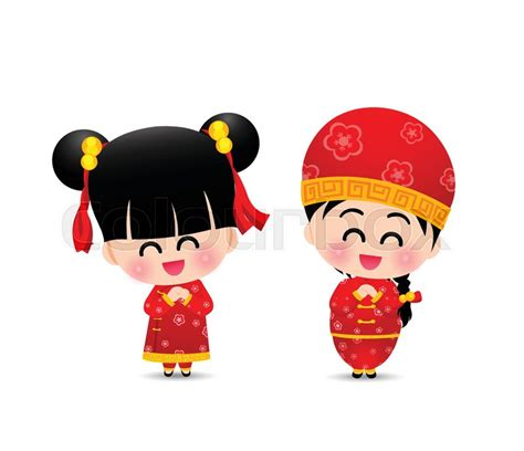 new year doll vector boy and smile and happy