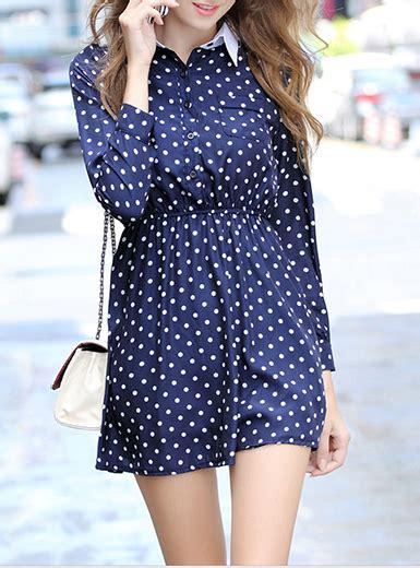 Dress Polka White Blue womens polka dot dress royal blue white blouse style