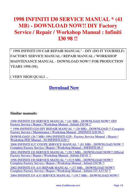 service manual 1998 infiniti i repair manual download 1997 1998 2001 infiniti qx4 workshop 1998 infiniti i30 service manual 41 mb diy factory service repair workshop manual infiniti i30