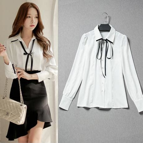 Cinta Blouse by Formal Office Blouses With Bow Ribbon Shirt White