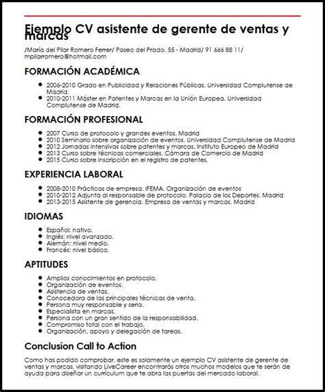 Modelo Curriculum Vitae Gerente De Ventas Ejemplo Cv Asistente De Gerente De Ventas Y Marcas Micvideal