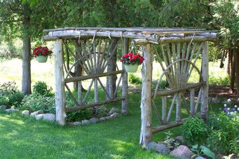 Log Trellis cedar log arbor welcome to my backyard more ways to reuse fallen cedars diy i did