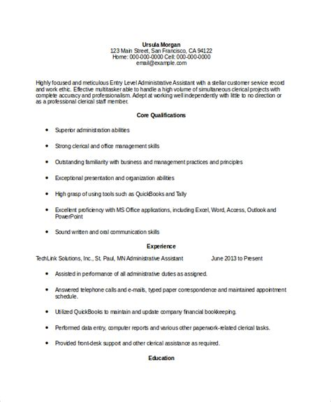 Entry Level Assistant Resume 10 administrative assistant resumes free sle