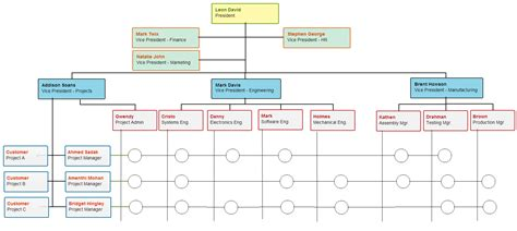 matrix structure diagram types of organizational charts for different