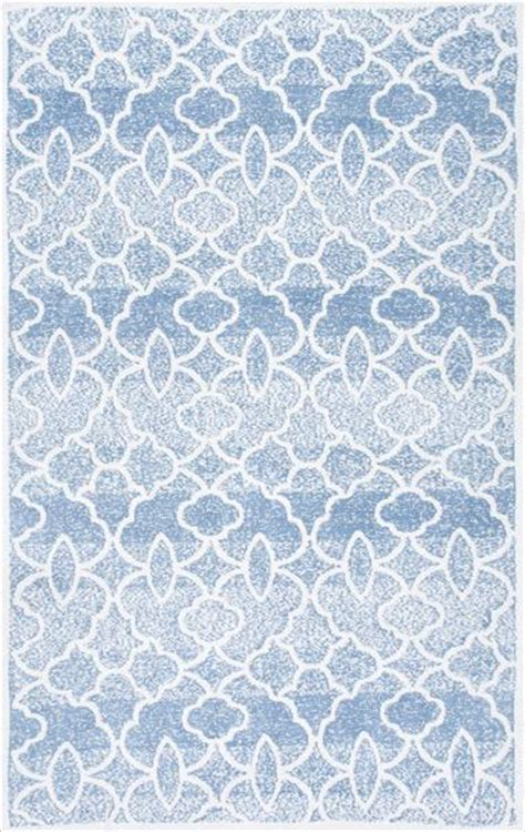 Distressed Blue Rugs - blue and white distressed geometric pattern rug