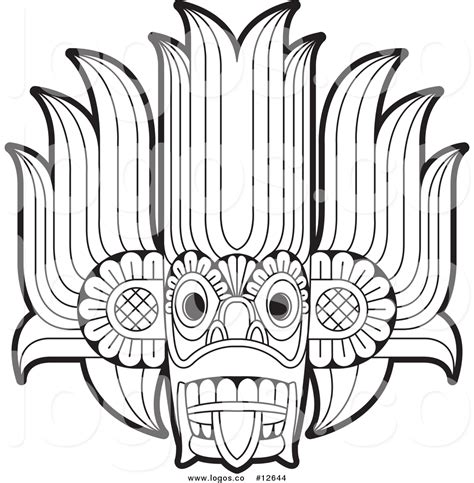 Gara White Tribal royalty free vector logo of a tribal mask outline by