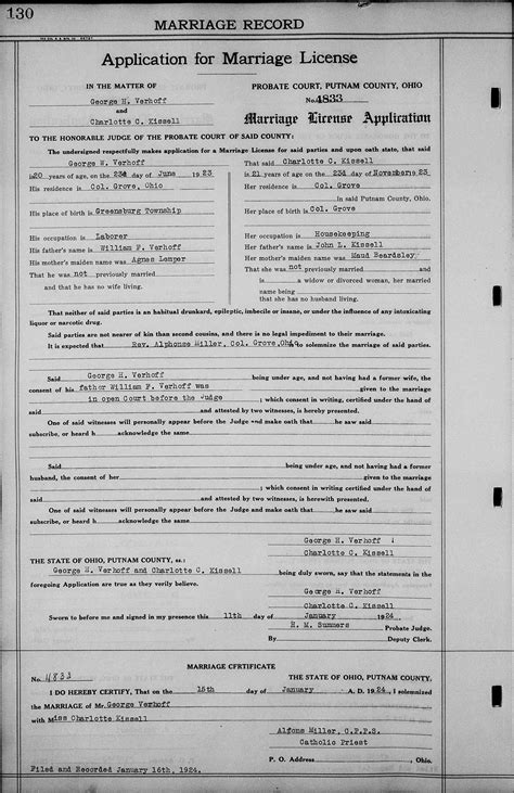 Columbus Ohio Marriage Records Genealogy Data Page 73 Notes Pages
