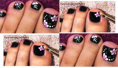 Dark Flower Toe Nail Art Design And Tutorial