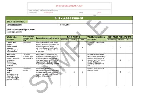 risk statement template risk assessment method statement for landscaping sle