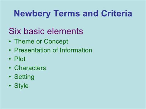 wb themes literature mock newbery criteria power point ola 2010 final