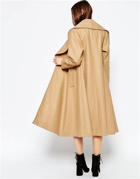 camel swing coats for ladies lyst asos midi swing trapeze coat with extreme collar in