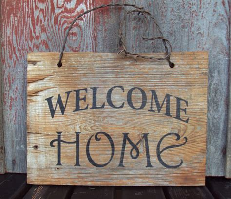 barn wood welcome home sign painted rustic wall decor