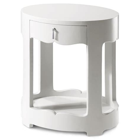 White And Silver Nightstand Lorna Modern Classic Silver White Lacquer Oval Nightstand Kathy Kuo Home