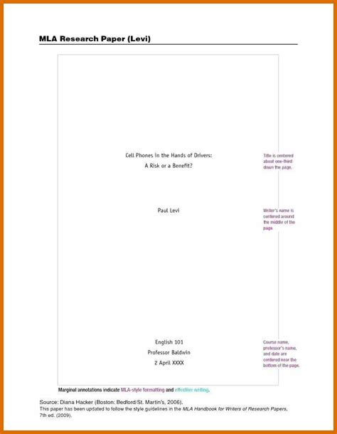 Research Paper Title Page Template