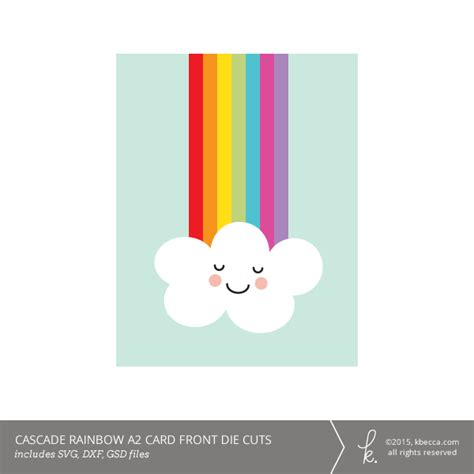 Rainbow Gift Card - cascade rainbow a2 card kit svg files included