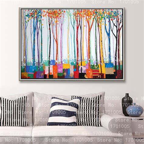 Lukisan Asli Kanvas Dekorasi Dinding Lukisan Rumah Kantor Murah Ld4512 baru keren lukisan rumah deco seni dinding tergantung warna warni bunga pohon picture picture