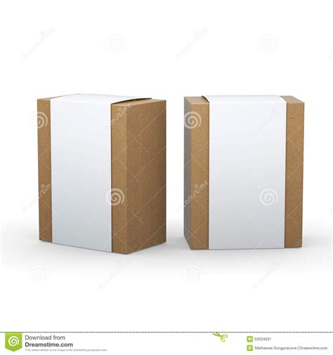 Wrap For Packaging brown paper box with white wrap packaging clipping path included stock illustration image