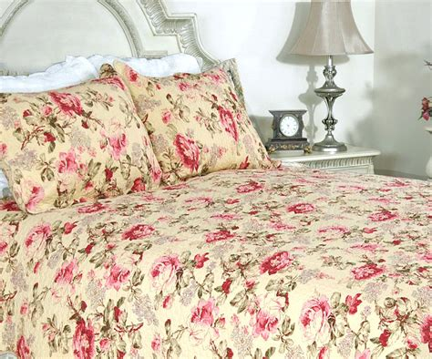 coverlets bedding lelia pink rose cottage 100 cotton quilt set bedspread