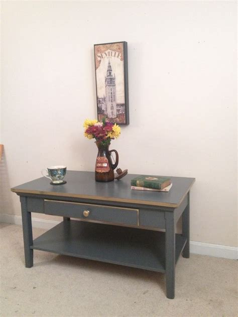 charcoal and gold painted coffee table by furniture alchemy industrial chalk paint
