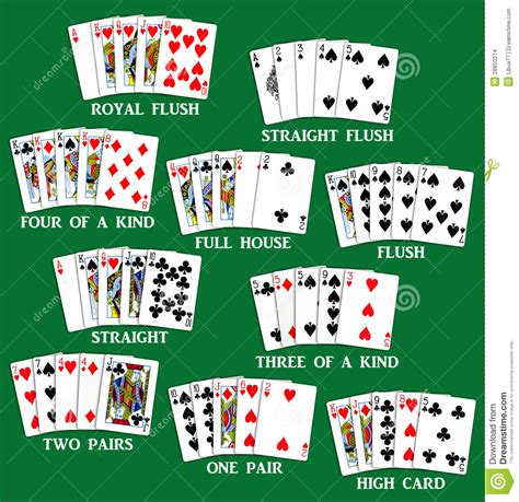 Playing Cards   Set Of Poker Hands Stock Photo   Image: 28850274