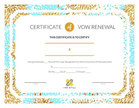 modern teal amp gold certificate of vow renewal i do still