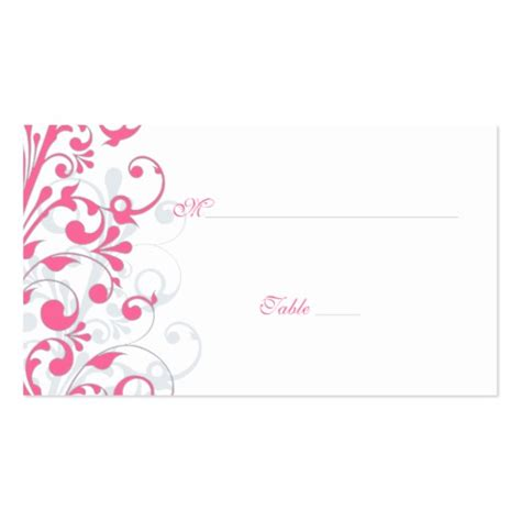 Wedding Place Cards Template pink grey white floral wedding place cards sided standard business cards pack of 100