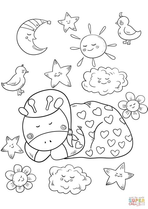 sleeping coloring page baby giraffe is sleeping coloring page free printable