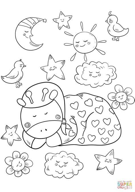 sleeping coloring page baby giraffe is sleeping coloring page free printable