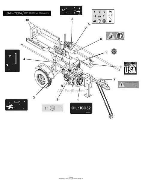 diagram of how to put a ton in ariens 917032 012000 34 ton log splitter parts